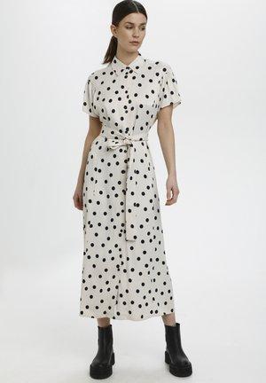 Vestido camisero - off white w black dot