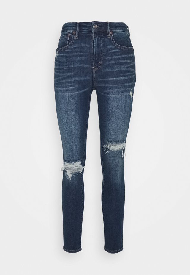 SUPER HI RISE - Jeggings - destroyed medium wash