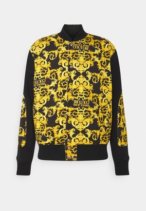 FLEECE PRINT LOGO BAROQUE  - veste en sweat zippée - black
