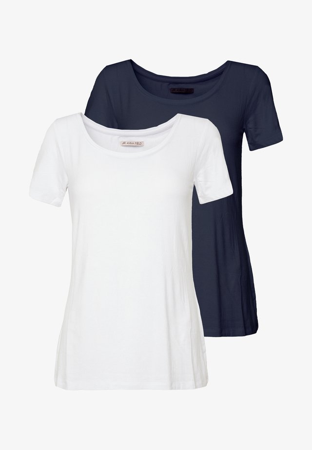 2ER PACK  - T-Shirt basic - navy/white