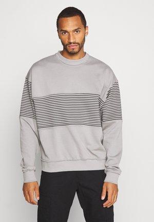 RAW EDGE STRIPE PANEL - Sweatshirt - grey