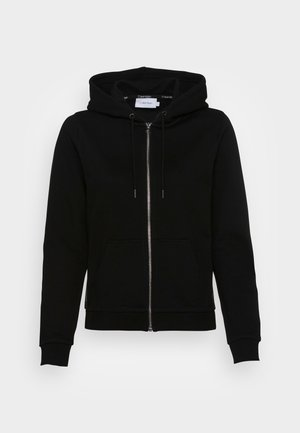 LOGO TAPE ZIP THROUGH HOODIE - Sweat à capuche zippé - black