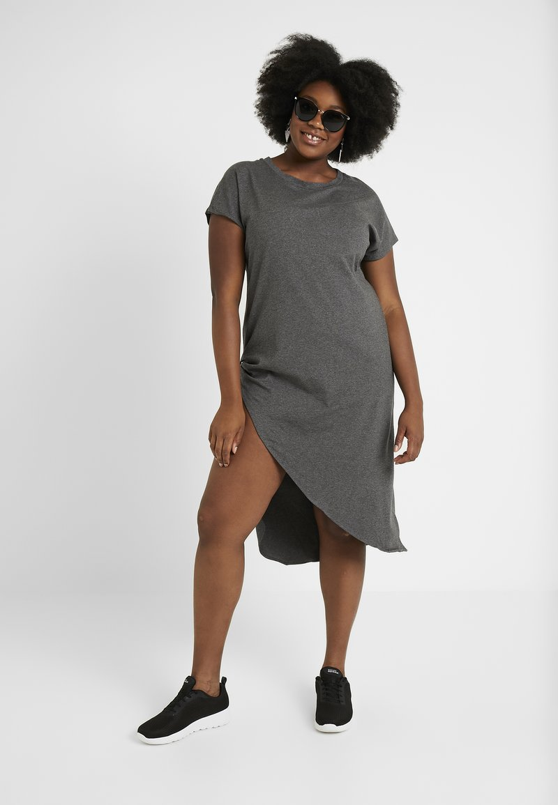 Simply Be - SEVERE ASYMMETRIC - Robe en jersey - charcoal marl