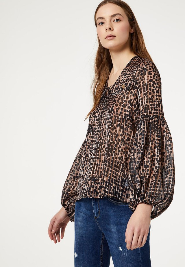 Blouse - biscuit/black