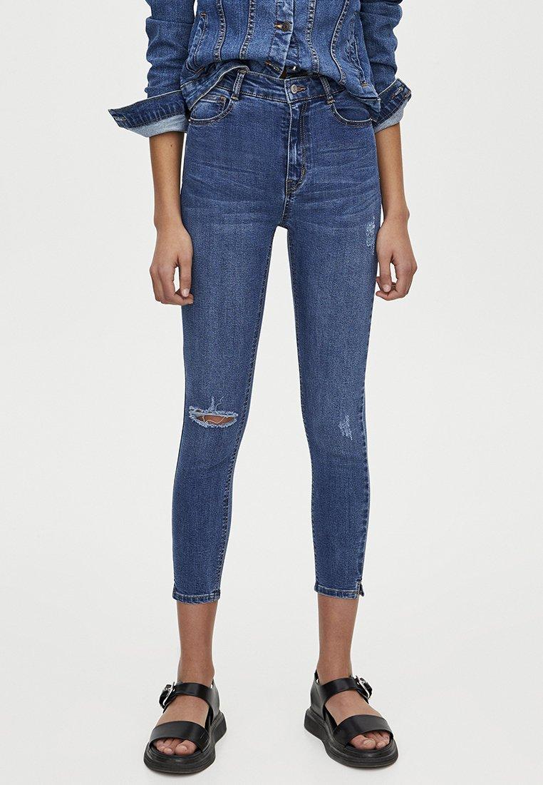 PULL&BEAR - MOM MIT HOHEM BUND - Jeans Skinny Fit - dark blue