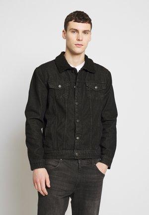 BORG COLLARED JACKET - Džínová bunda - black denim