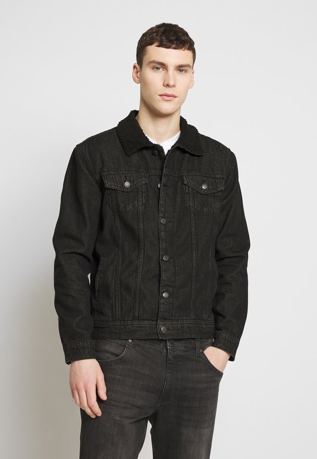 BORG COLLARED JACKET  - Denim jacket - black denim