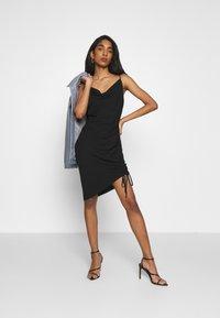 NA-KD - DRAPED HIGH SLIT MIDI DRESS - Cocktail dress / Party dress - black - 1