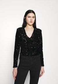 Good American - STRETCH SEQUINS - Long sleeved top - black - 0
