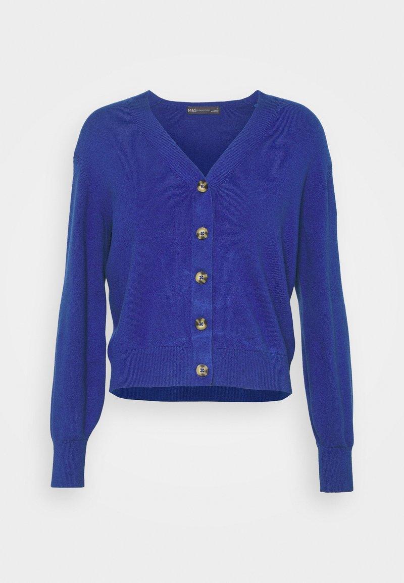 Marks & Spencer London - NEEDLE CARDI - Strikjakke /Cardigans - blue