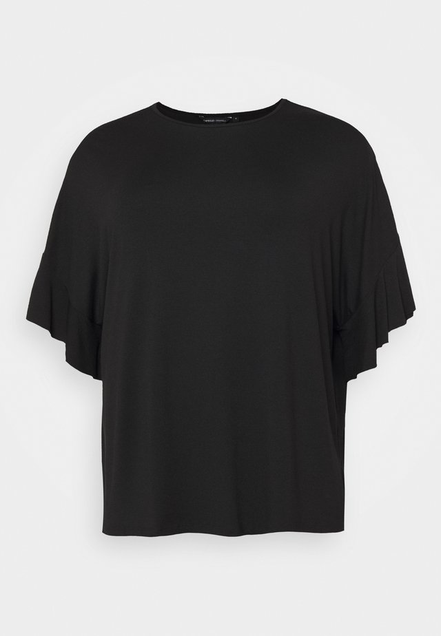 BOXY RUFFLE SLEEVE  - T-shirt basique - black