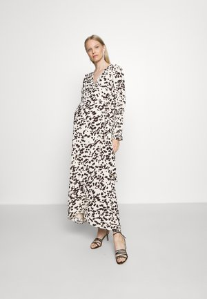 WRAP DRESS WITH TIE DETAIL - Maxi dress - cream brown abstract