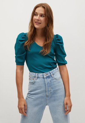BONNIE - Print T-shirt - petrolblau