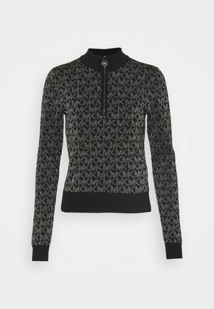 HALF ZIP - Jumper - black/silver