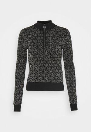 HALF ZIP - Stickad tröja - black/silver