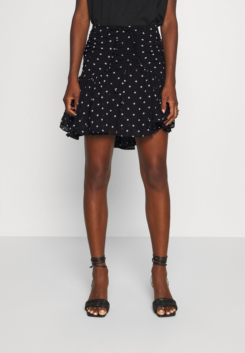 Guess - LUBIA - A-line skirt - black/white