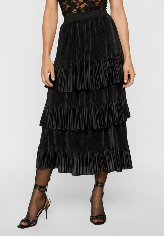 MIT STUFEN PLISSIERTER - Pleated skirt - black