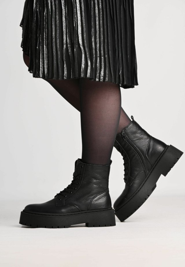MARY - Lace-up ankle boots - black/ black