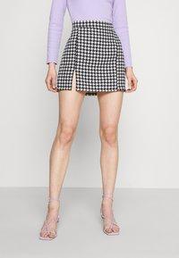 WAL G. - GEMMA DOG TOOTH SKIRT - Mini skirt - black/white - 0