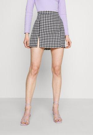 GEMMA DOG TOOTH SKIRT - Mini skirt - black/white