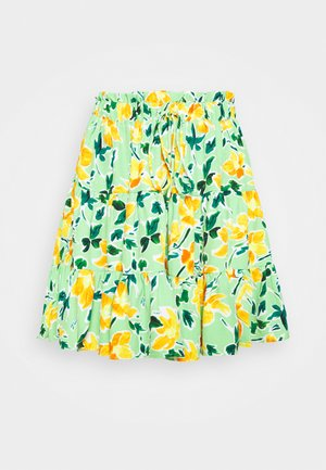 HIGH WAISTED TIERED MINI SKIRT WITH FRONT TIE DETAIL - Mini skirt - green