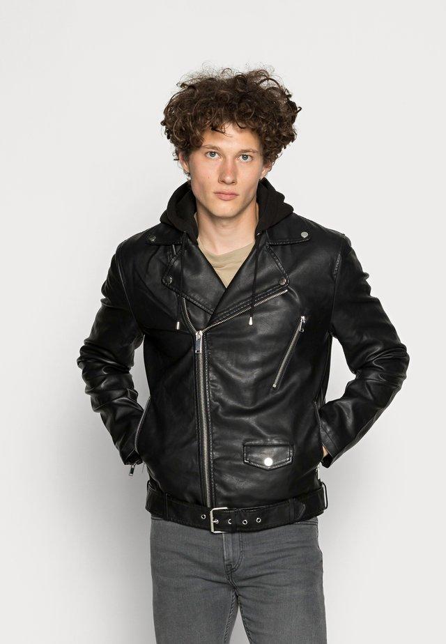 HARLEY BIKER  - Imitatieleren jas - black