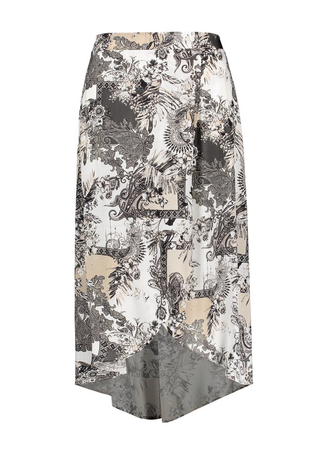 LANG WEIT MIT WICKEL-EFFEKT - Wrap skirt - offwhite gemustert