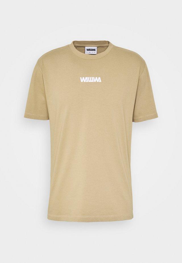 UNISEX SQUARE LOGO  - T-shirt à manches longues - beige