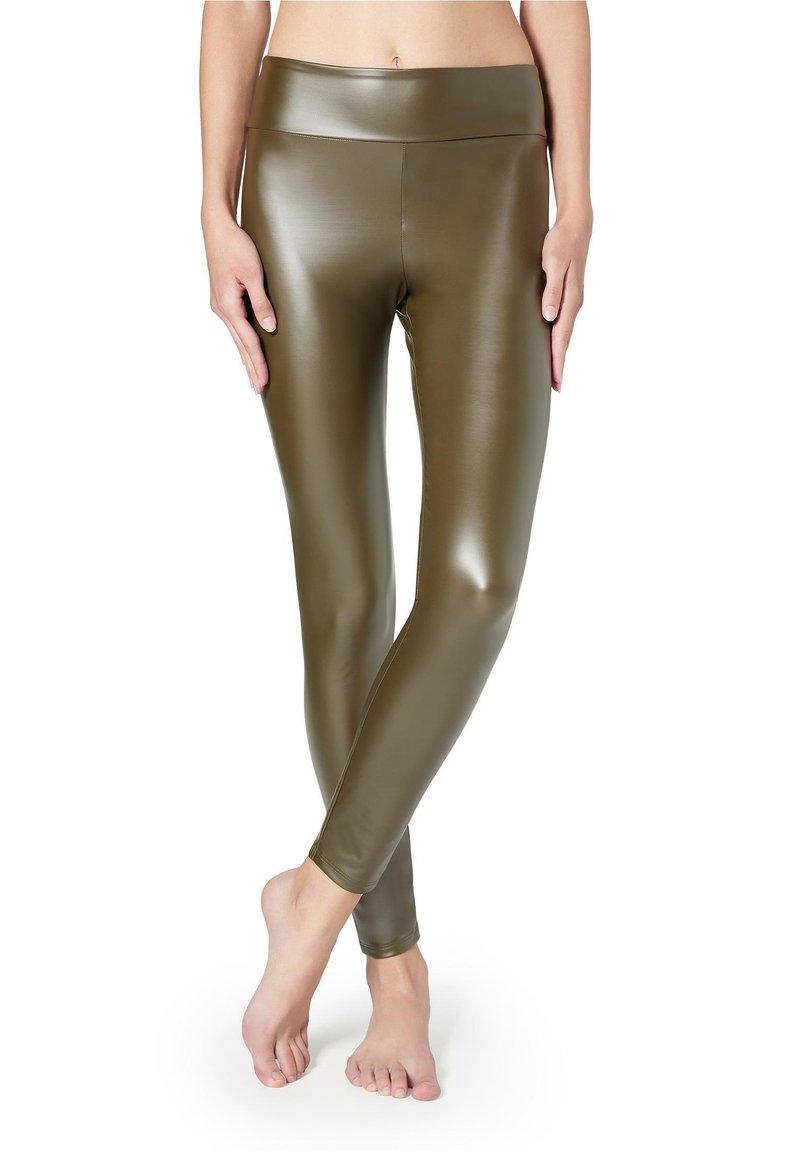 Calzedonia - MIT LEDER-EFFEKT - Leggings - Stockings - grün - 154c - khaki