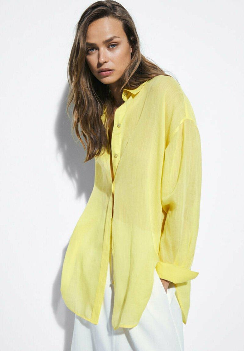 Massimo Dutti - Button-down blouse - yellow