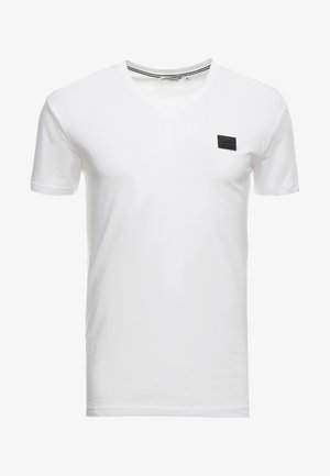 SPORT V-NECK WITH METAL PLAQUETTE - T-shirts - bianco