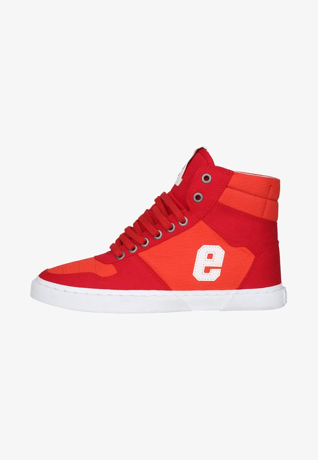 High-top trainers - grid red