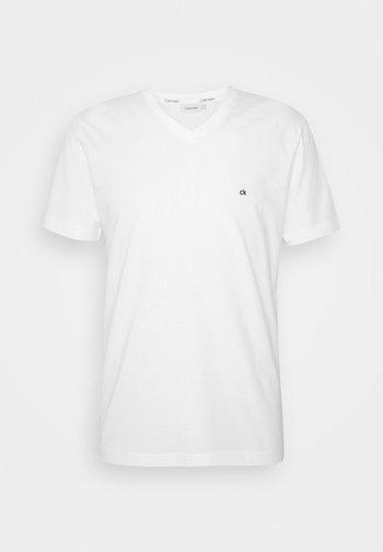 V-NECK CHEST LOGO - T-shirt - bas - white