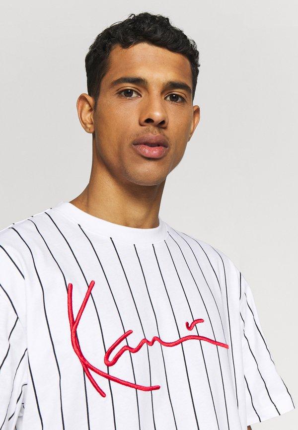 Karl Kani SIGNATURE PINSTRIPE TEE - T-shirt z nadrukiem - white/black/red/biały Odzież Męska MZVJ