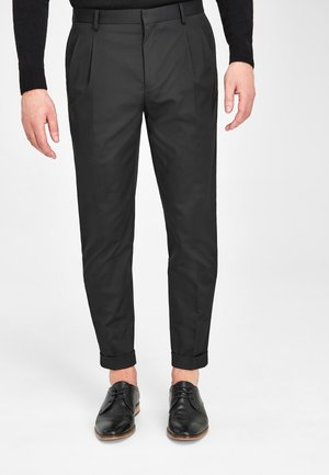 KHAKI FASHION PLEAT FIT TWIN PLEAT FORMAL TROUSERS - Trousers - black
