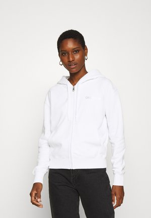 INSTIT BACK LOGO ZIP THROUGH - veste en sweat zippée - bright white