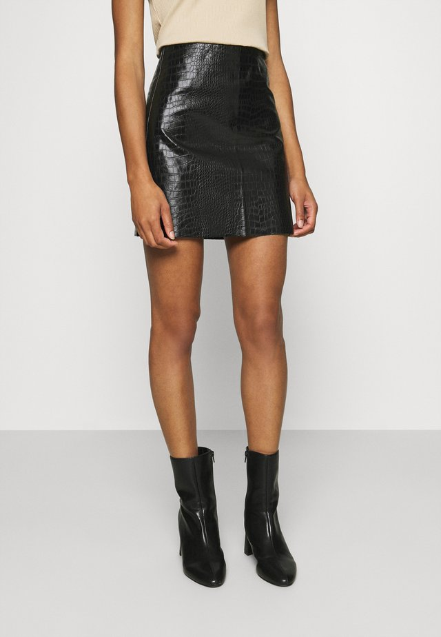 VEGAN CROC MINI SKIRT - Minirok - black