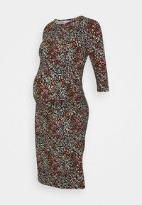 MLAMINE 3/4 DRESS - Jersey dress - black/green ash natural carrot tea
