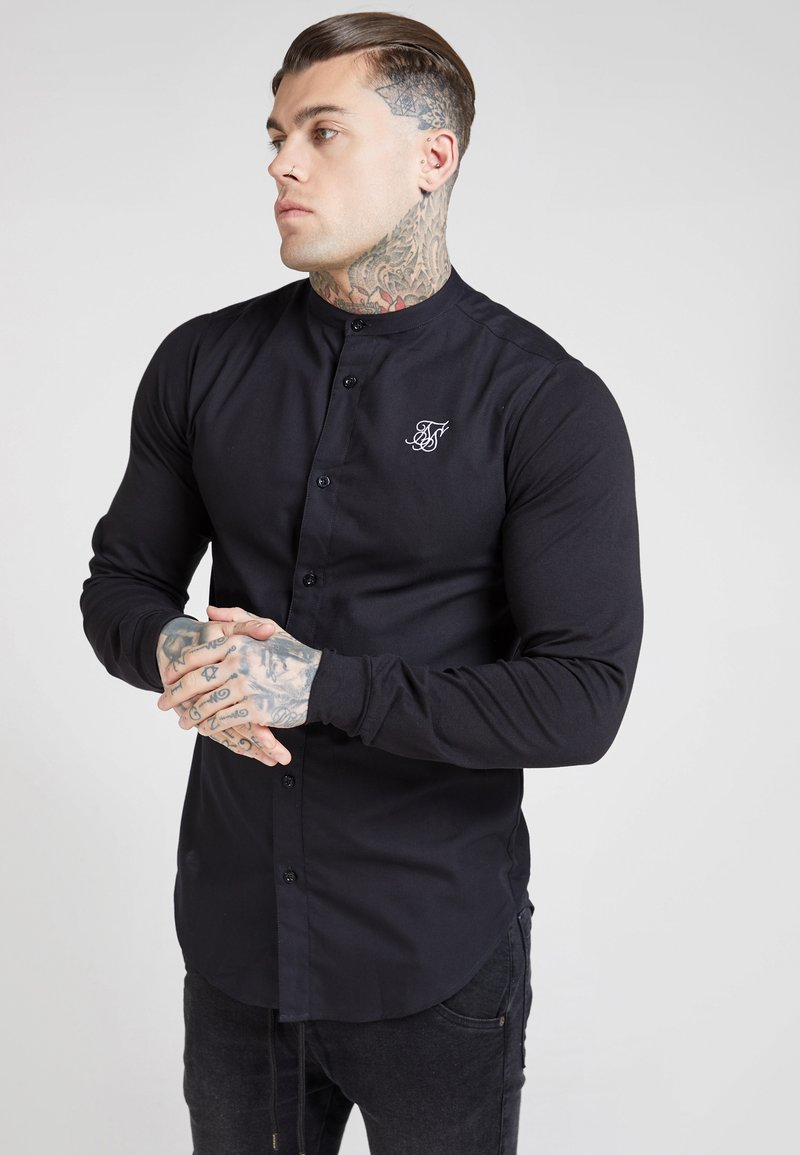 SIKSILK - GRANDAD COLLAR JLONG SLEEVE FITTED - Camicia - black