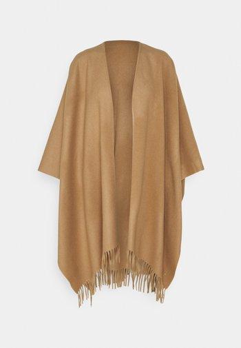 FRINGED WRAP SCARF - Poncho - classic camel