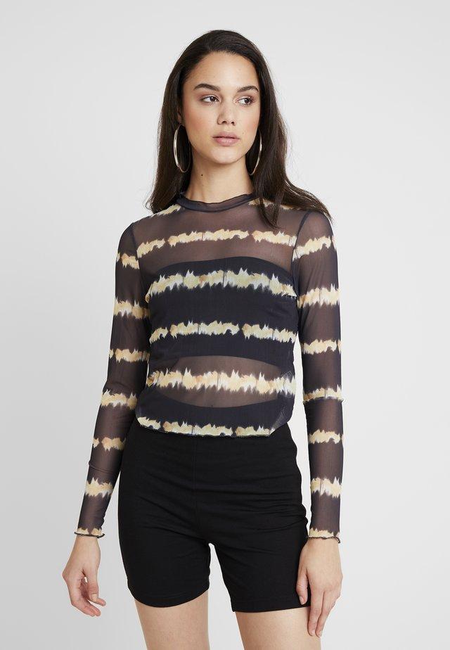 Langærmede T-shirts - beige/black
