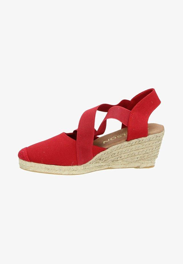 Sandalen met sleehak - rood