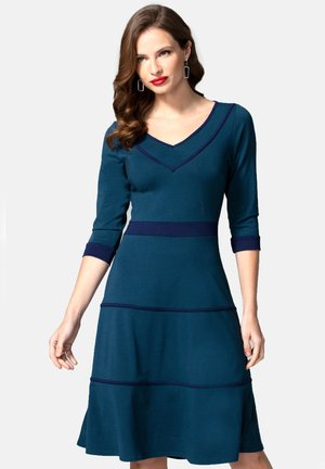 V NECK DRESS WITH CONTRAST PIPING - Day dress - teal and navy
