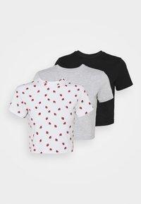 Even&Odd Petite - 3 PACK - T-shirt med print - black/light grey/multi-coloured - 0