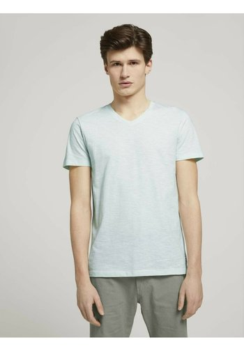Print T-shirt - mint white yd melange stripe