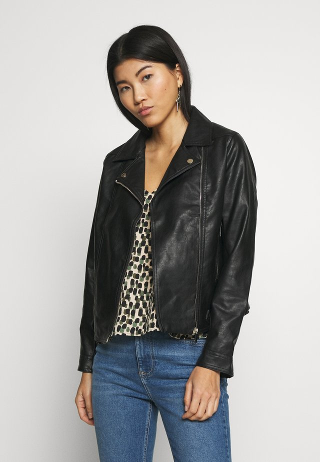BIKER JACKET - Veste en similicuir - black