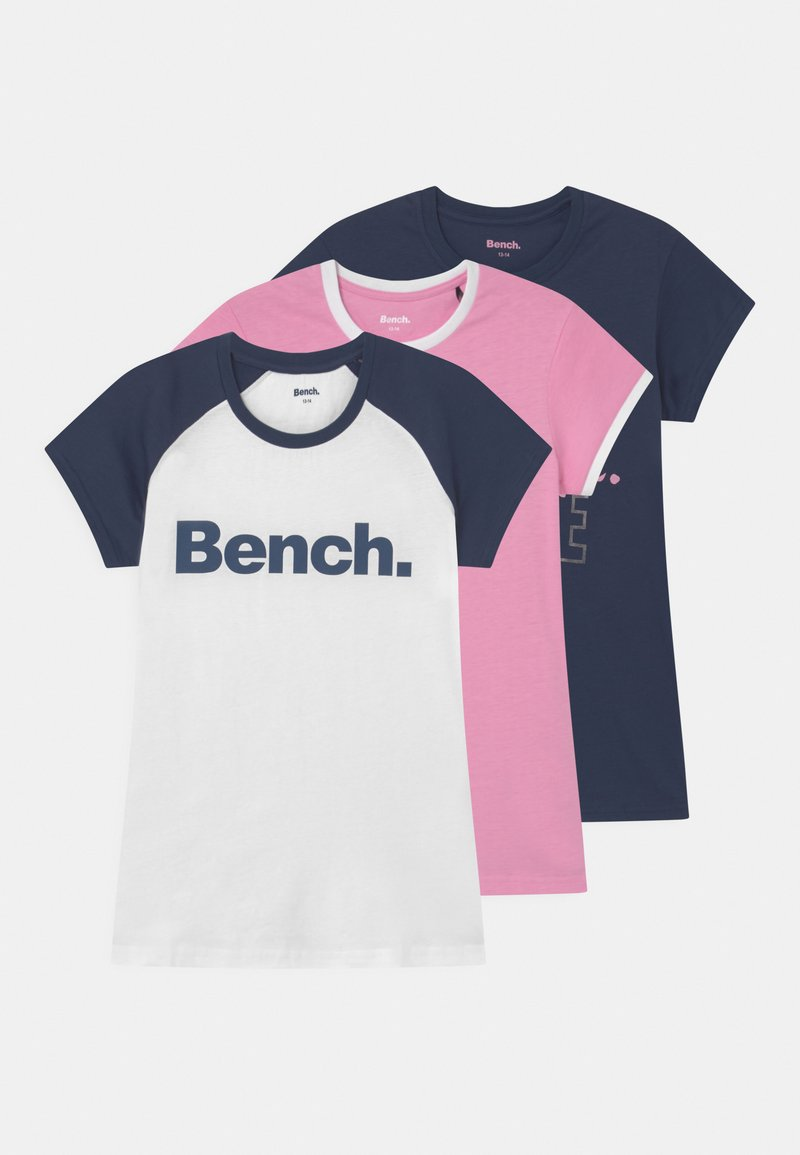 Bench - LARISAL 3 PACK - Camiseta estampada - pink/navy/white