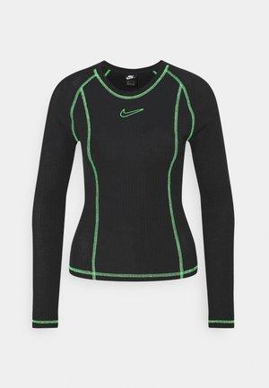 Langærmede T-shirts - black/poison green