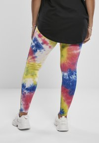 Urban Classics - TIE DYE HIGH WAIST  - Leggings - Trousers - royalblue/brightyellow - 2
