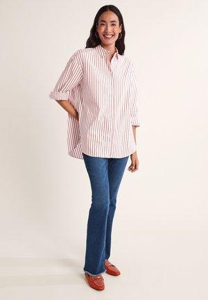 Button-down blouse - dark orange stripes